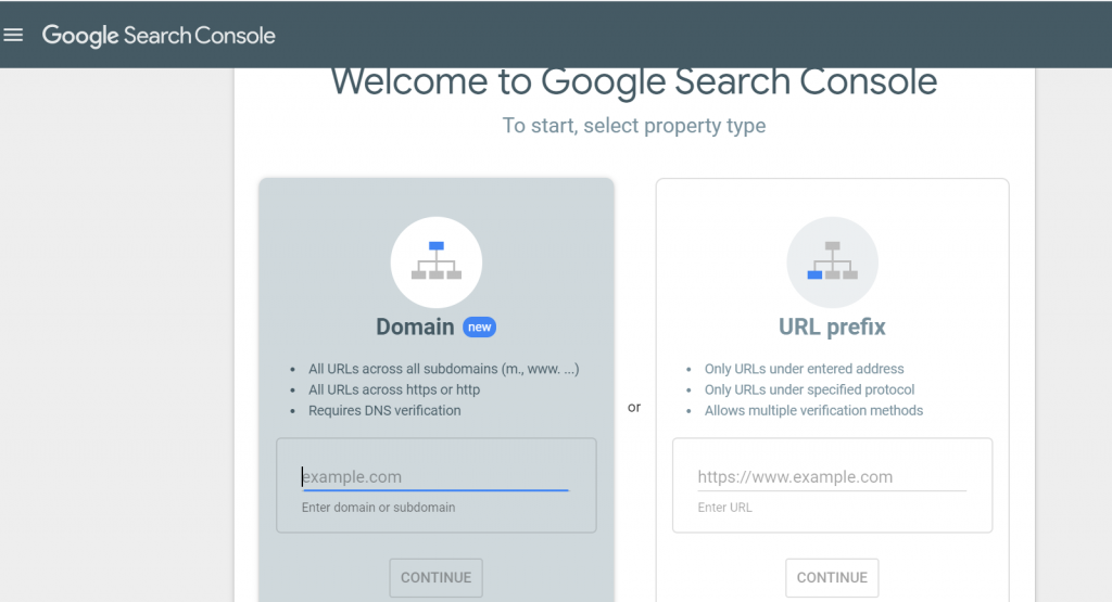 how to set up fundamentals of Google SEO for my website - domain or URL prefix