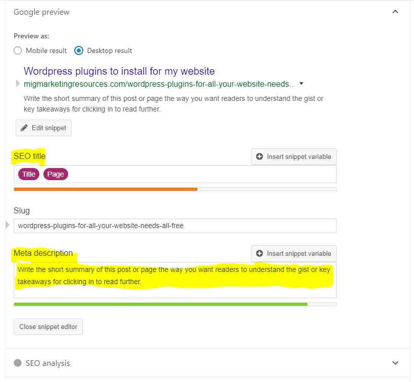 Yoast SEO - Meta Titles & Description
